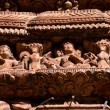 Carved wooden details on a Nepalese temple door — Stock Photo