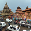 Patan Durbar square visited by tourists. Kathmandu, Nepal — Stock Photo