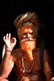 Holy Hindu sadhu in Pashupatinath, Nepal — Foto Stock
