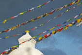 Buddhist Tibetan prayer flags blowing in the wind — Stock Photo