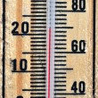 Wooden thermometer scale — Stock Photo
