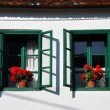 Whitewashed house with green shutters and red geranium flowers — Stock Photo