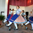 Folklore Dancers in Slovak clothes dancing — Stock Photo