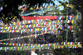 Prayer flags blowing in the wind. Swayambhunath, Nepal — Stock Photo
