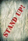 Red Stand up letters on a vintage paper background — Photo