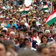 Crowds of Hungarian pilgrims at a religious celebration — Stock Photo