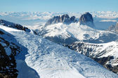 Winter view of snowy mountains in the Dolomites. Italy — Stock Photo