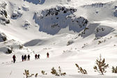 Hiking in wintertime. Retezat mountains, Carpathians, Romania — ストック写真
