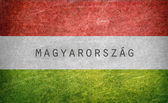 Flag of Hungary with the name of the country in Hungarian — Stockfoto