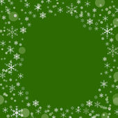 Christmas green background with snowflakes, space for text — Stock Photo