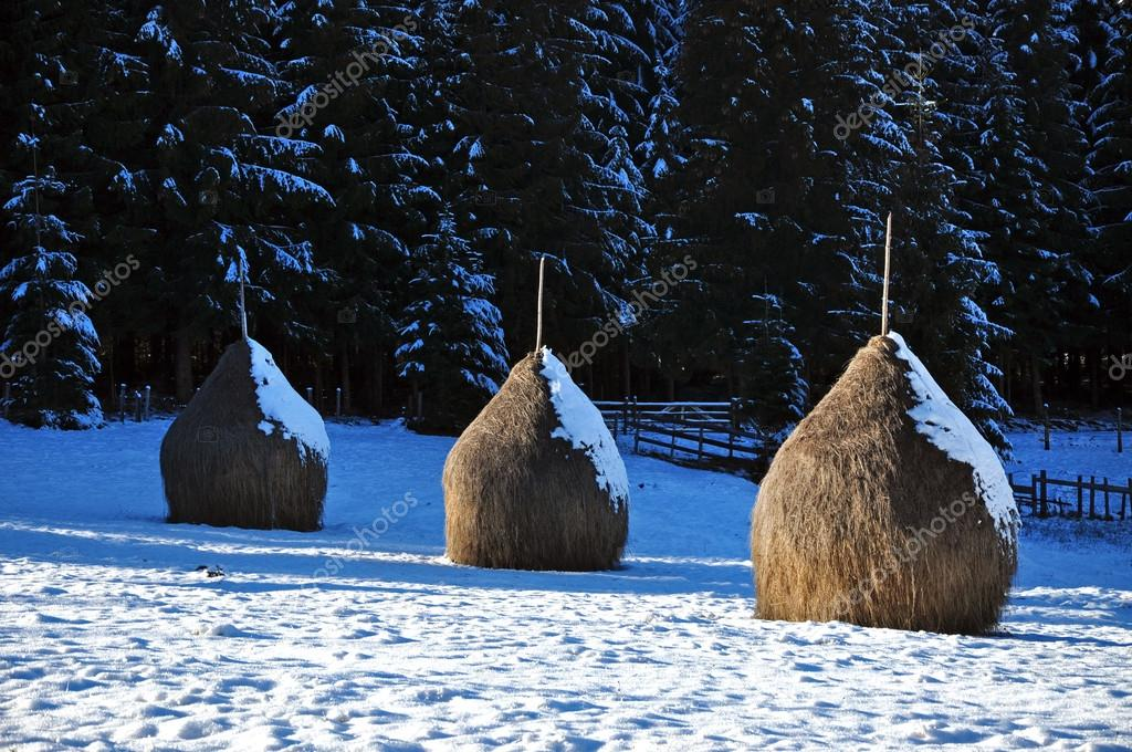 Картинки стог сена зимой