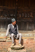 Nepalese man in traditional clothes in Kathmandu — Stock Photo