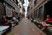Kathmandu suburb streets, Nepal — Stock Photo