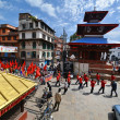 Foto Stock: Nepalese people celebrating Dasain festival in Kathmandu, Ne