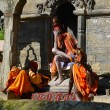 Foto de Stock  : Holy Sadhu men with dreadlocks and traditional painted face in P