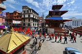 Nepalese people celebrating the Dasain festival in Kathmandu, Ne — Stock Photo