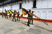 Nepalese soldiers marching in Kathmandu — Stock Photo