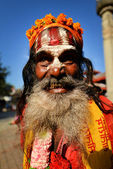 Sadhu man seeking alms in Durbar square. Kathmandu, Nepal — Stock Photo