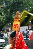 Celebração do festival dasain, no nepal — Fotografia Stock
