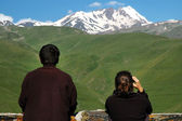 Mount Kazbek at spring — Stock Photo