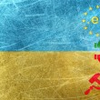 Stock Photo: EU against Russimotif on flag of Ukraine