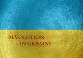 Revolution in Ukraine on the flag of Ukraine — Stockfoto