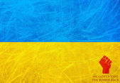 Flag of Ukraine - We gotta take the power back message — Photo