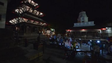 Nightscape of the popular Durbar square in Kathmandu, Nepal — Stock Video