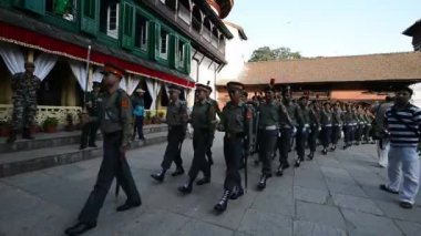 Nepalese Royal guards marching in the inner courtyard of the Royal Palace. Kathmandu, Nepal — Stock Video