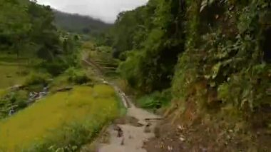 Time lapse of a long ascent on stone steps in the Annapurna mountains, the Himalayas — Stock Video