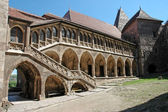 The inner courtyard of the Corvin castle in Transylvania — Stock Photo