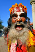 Sadhu man with long beard — Stock Photo