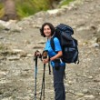 Trekking young woman in the Himalayas — Stock Photo