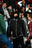 Football hooligans in a stadium — Stock Photo