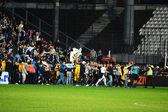 Soccer hooligans invason on the soccer field — Stock Photo