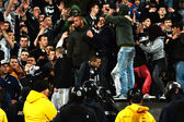 Hooligans during a football match — Stock Photo