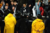 Hooliganism during a football game — Stock Photo