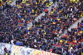 Crowd of football supporters in a stadium — Stok fotoğraf
