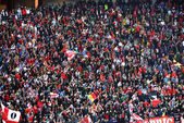 Crowd of football fans in a stadium — Stok fotoğraf