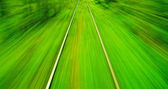 Motion blur view from o train on high speed — Stock Photo