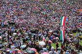 Crowd of religious pilgrims people during a Catholic celebration — Stock Photo