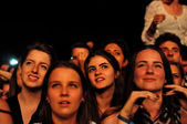 Crowd of people at a music festival — Stock Photo