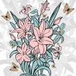 Vector de stock : Abstract lilies and butterflies