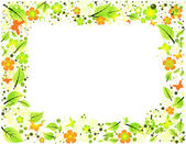 Abstract frame from leaves, flowers and butterflies — Stock Vector