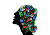 Female head with abstract flowers — Vector de stock