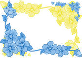 Frame from abstract blue and yellow flowers — Stock Vector