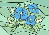 Abstract blue flowers with background — Vector de stock
