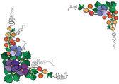 Rám z abstraktní květy a plody — Stock vektor