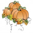 Pumpkins with leaves  — Stock Vector