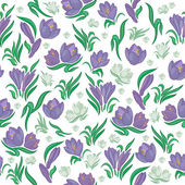 Seamless crocus background — Vector de stock